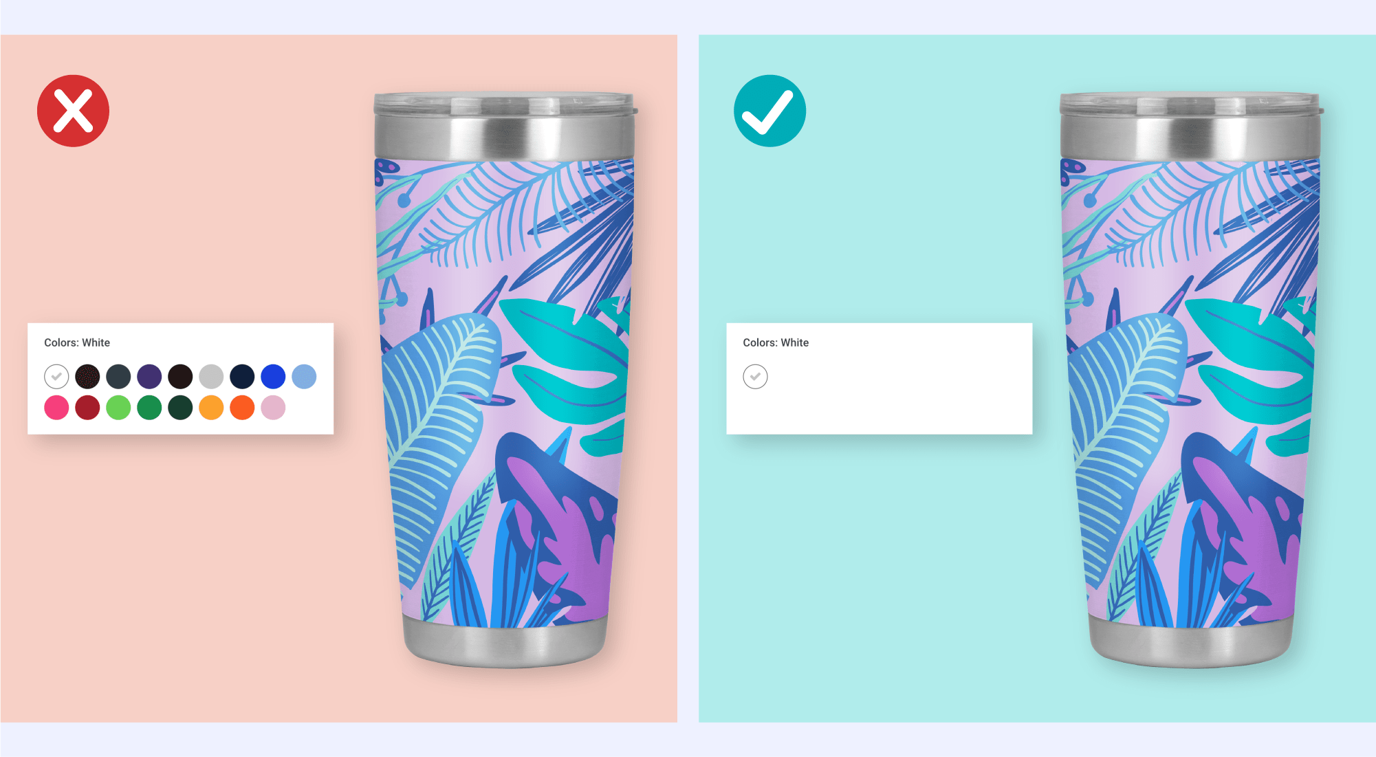 Artwork with multiple color options