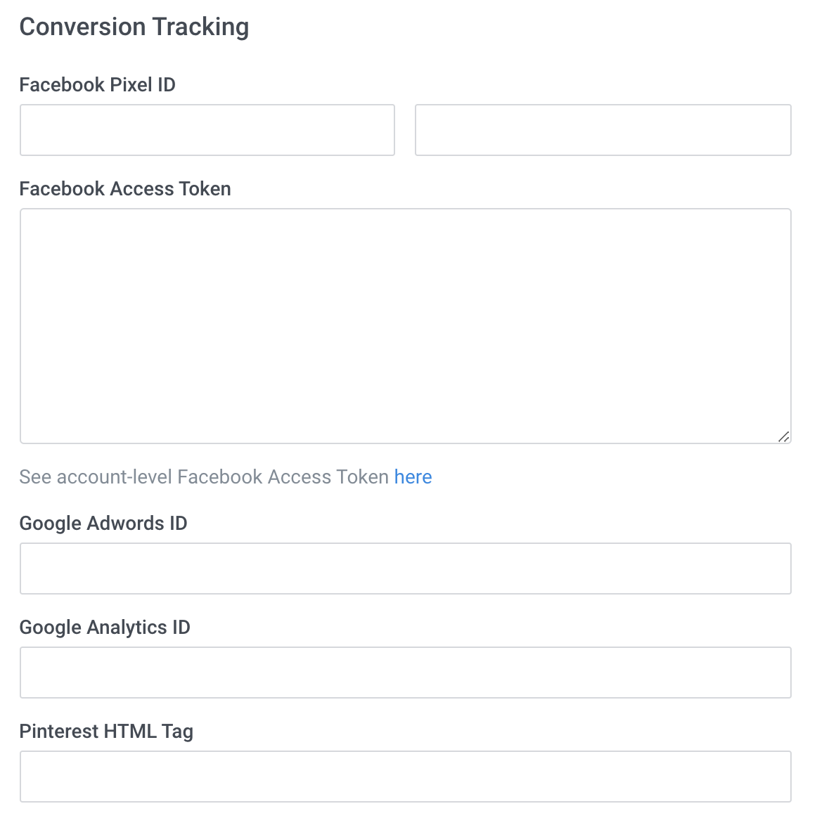 Domains > Domain Settings - Domain level conversion tracking