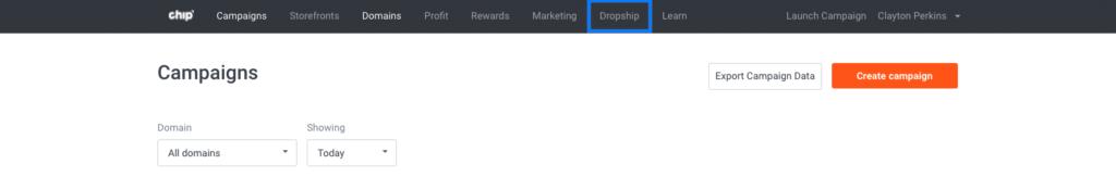 Dropship in Chip dashboard