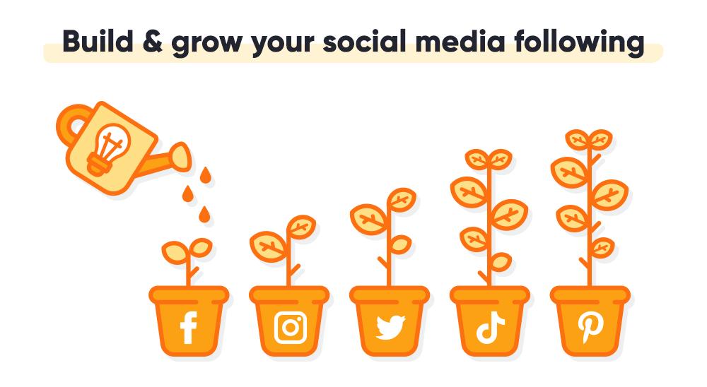 Gardening bucket watering social media-themed plant pots.