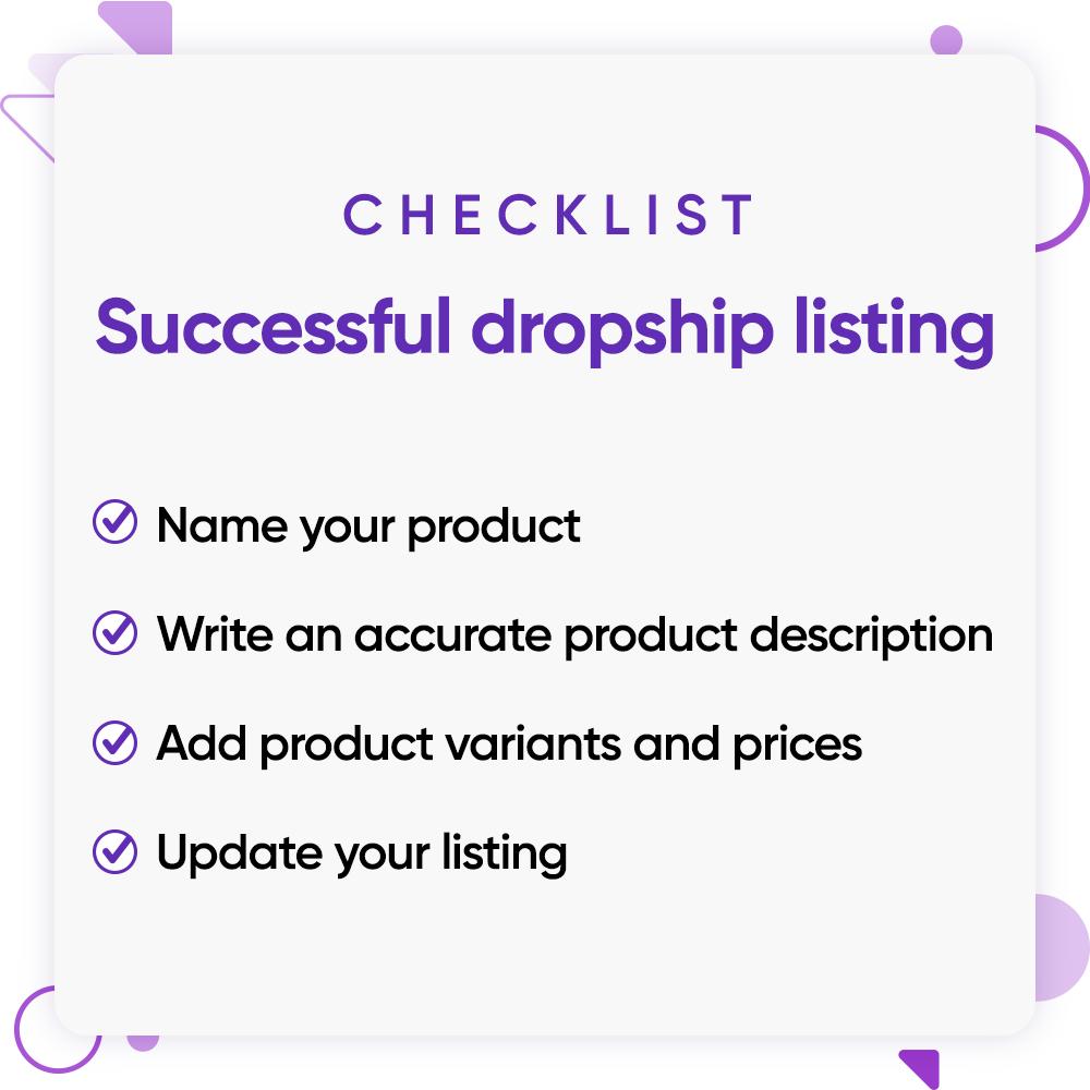 Successful dropship listing checklist.