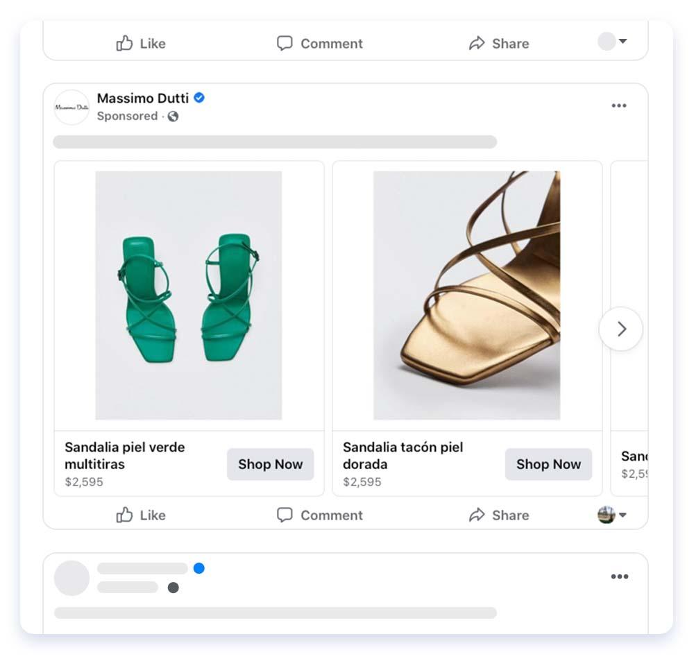 Massimo Dutti footwear Facebook retargeting ad
